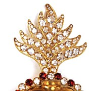 SOLD Antique French Gilded Brass Ex-Voto Sacred Heart With Red And Clear Cut Glass Stones