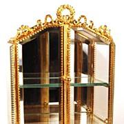 SOLD Antique French Napoleon III Miniature Bronze Dore and Glass Cabinet/Trinket Box