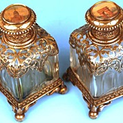 """SOLD Pair of Nineteenth Century """"Palais Royal"""" French Silver and Glass Scent Bottles w/ Re"""