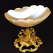 SOLD Antique French Mother of Pearl Gilded Mount Vide Poche