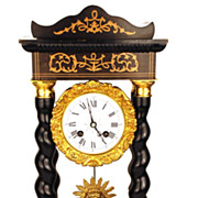 SOLD Antique French Napoleon III Clock w/Barley Twist Columns