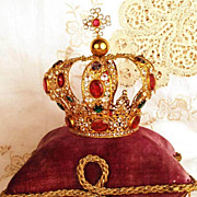SOLD Antique Nineteenth Century Santos Jeweled Santos Crown w/Rare Amethyst Paste Stones