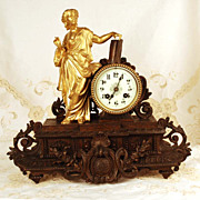 SOLD Antique French Metal/Gilded Metal Mantel Clock