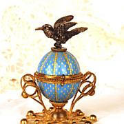 Antique Palais Royale Hinged Opaline Egg Box w/Figural Bird
