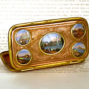 SOLD Antique French Palais Royal Boite a Cigar/Porte Monnaie w/Five Eglomise Scenes