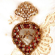SOLD Rare and Exceptional Antique Nineteenth Century Sacred Heart of Marie Ex Voto/Reliquaire