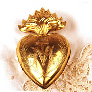 SOLD Antique Gilded Brass Sacred Heart Ex Voto/Reliquaire Box
