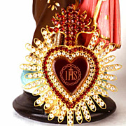 SOLD LARGE Antique 19th c. French Flaming Heart Ex Voto