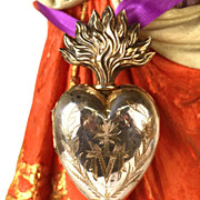 SOLD Antique 19th C. French Silver Flaming Heart (Vermeil Interior) of Mary Voto/Reliquary