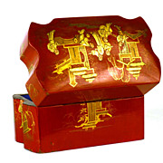 SOLD Rare Red Lacquer Chinoiserie Antique Napoleon III French Scent Casket