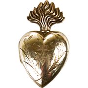 SOLD Exquisite Antique 19th Century French  Silver Sacred Heart Ex Voto Reliquary