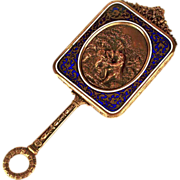 Rare Small Antique Napoleon III Champleve/Bronze Dore Miroir a Main (Hand Mirror) w/ Repousse