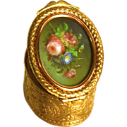 Antique Napoleon III Gilded Brass Box with Hand painted and Signed Gouache