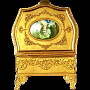 LARGE Napoleon III Gilded Bronze/Brass Boudoir Casket with Hand Painted Portrait of Marie Anto