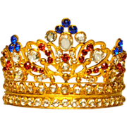 Sumptuous Nineteenth Century Gilded Brass Santos Diadem Crown with Glass Stones