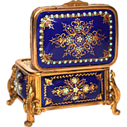 Antique Nineteenth Century Gilded Bronze Coffre with Hand Painted Enamel Plaques