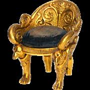 Rare Napoleon III Gilded Bronze Miniature Fauteuil Pique Epingle (Pin Cushion)