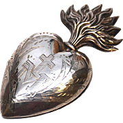 SOLD Exceptional Large French Silver Sacred Heart Ex Voto Reliquary with Vermeil Interior