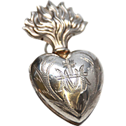 SOLD TINY Antique Nineteenth Century French Silver Sacred Heart Ex Voto Reliquary