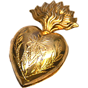 SOLD Small Antique Nineteenth Century Gilded Brass French Sacred Heart Ex Voto