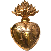 SALE PENDING Antique Nineteenth Century Gilded Brass French Sacred Heart Ex Voto