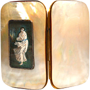 Antique Nineteenth Century Mother of Pearl Eglomise Porte Monnaie
