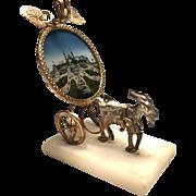 Antique Nineteenth Century Palais Royal Figural Eglomise Porte Montre Watch Holder