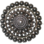 Very Rare Antique J Tostrup Norwegian Filigree Floral Sterling Brooch Circa 1870's