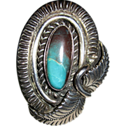 Important Carlos White Eagle 50 CT Smoky Bisbee Turquoise Sterling Ring Certificate Of ...