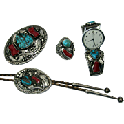 Vintage Justin Morris Navajo Sterling Bisbee Turquoise Coral Set Watch Bolo Ring Buckle
