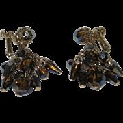 Vintage Vendome Topaz Crystal Chandelier Earrings