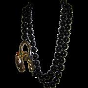 Vintage Les Bernard Black Glass Bead Panther Necklace