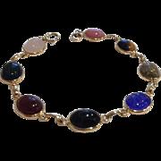 14K Gold Semi Precious Eight Stone Scarab Bracelet