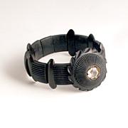 Antique Victorian Irish Bog Oak Bracelet 1860 with Crystal Glass Paste Jewel