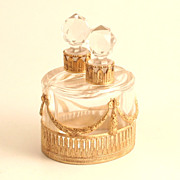 A Rare French Charles X 1830 Pair of Elliptical Scent Bottles  in Ormolu and Baccarat ...