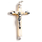 A 19c French Silver and Mother of Pearl Pendant Crucifix 3  inches by 1 3 ...