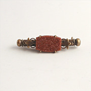 Antique 1890 German made Goldstone Nanna or Nanny Brooch Jewelry Sewing Accessory