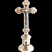 1890 Micro Mosaic  Rome Pedestal Crucifix Cross 12 Inches High