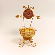 A Beautiful  Napoleon III Paris  Amber Glass  and Ormolu Signed Jewellery and Watch Stand for