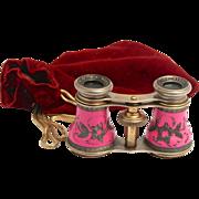 SOLD Antique French 1880 Lamier Paris Pink Enamel Opera Glasses