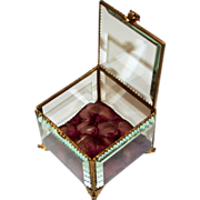 SOLD Antique French Jewellery Box Glass and Ormolu 1880
