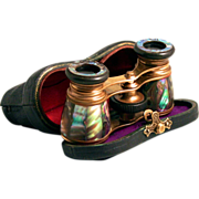 SOLD 1920 Busch German Opera Glasses Green Iridescent Abalone Shell with Leather Case