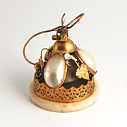 1880 Paris Palais Royal Bordello Bell Mother of Pearl and Ormolu with Vines and Grape Decorati