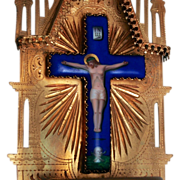 A Beautiful French 19C Holy Water Font with Crucifix of Jesus Christ  Enamel and Ormolu