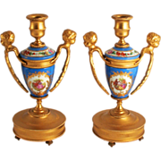 A Pair of French 1870 Sevres Style Angels, Putti or Cherub Candlesticks with Porcelain and ...