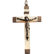 1887 French Silver and Mother of Pearl Crucifix Cross
