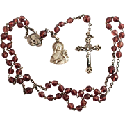 1920 Saint Therese French Silver Glass Amethyst Ladies Rosary Beads in Mother of Pearl Egg ...