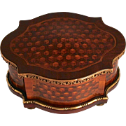SOLD 1860 Tahan of Paris Signed Kingswood and Bronze Mounted Marquetry Box with Secret Opening