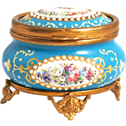 SOLD Napoleon III Period 1850 French Enamel Oval Jewellery Box with raised Borders of Opaline