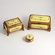 Antique Trio of Tahan of Paris Citron Enamel Jewellery Boxes
